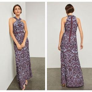 BCBGMaxAzria Embroidered Chiffon Halter Gown Dress